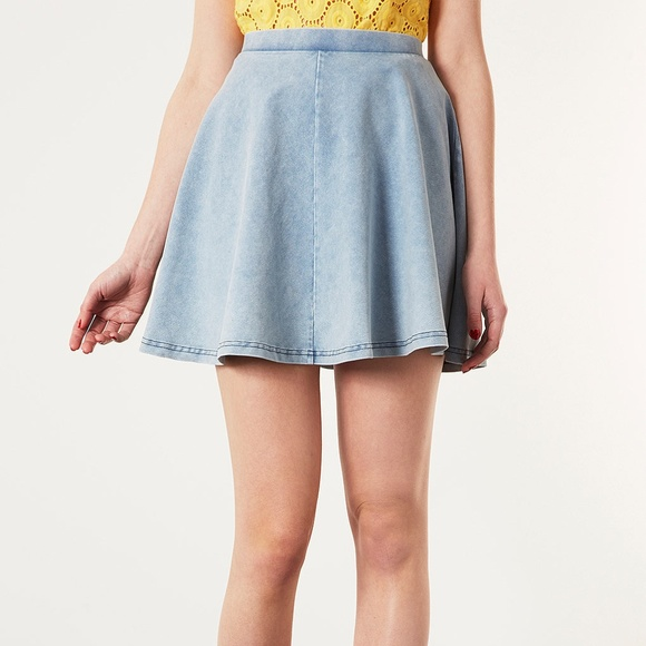 bd9f16e486 Topshop Blue Acid Denim Look Skater Skirt